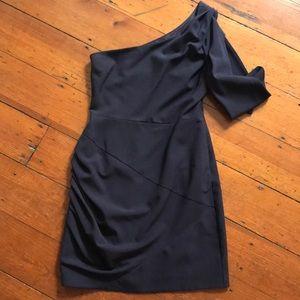 Black halo dark purple one shoulder dress